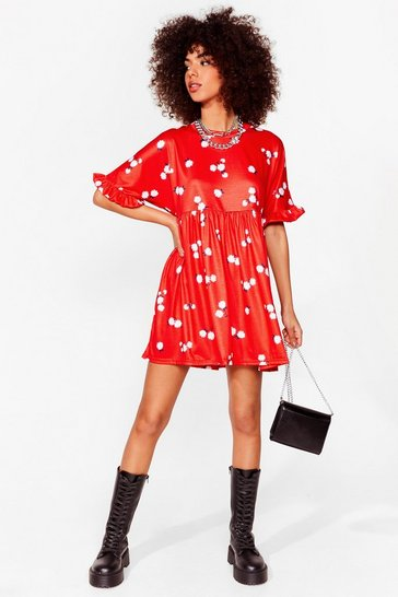 Red Floral Ruffle Sleeve Mini Dress