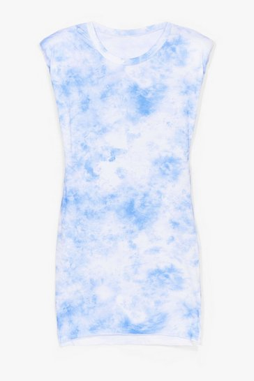 Blue Tie Dye Crew Neck Shoulder Pad Mini Dress