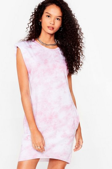 Pink Tie Dye Crew Neck Shoulder Pad Mini Dress