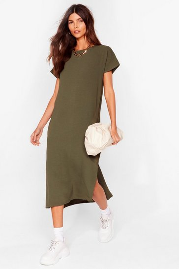 Khaki Slits Up to You Crew Neck Midi Dress