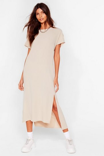 Stone Slits Up to You Crew Neck Midi Dress
