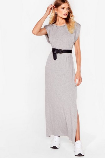 Grey Shoulder Pad Romance Slit Maxi Dress