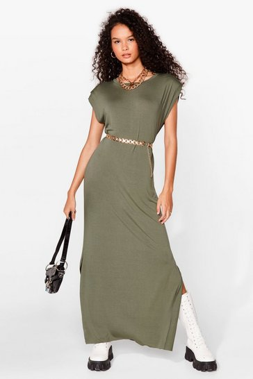Khaki Shoulder Pad Romance Slit Maxi Dress
