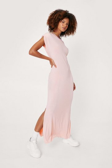 Pink Shoulder Pad Romance Slit Maxi Dress