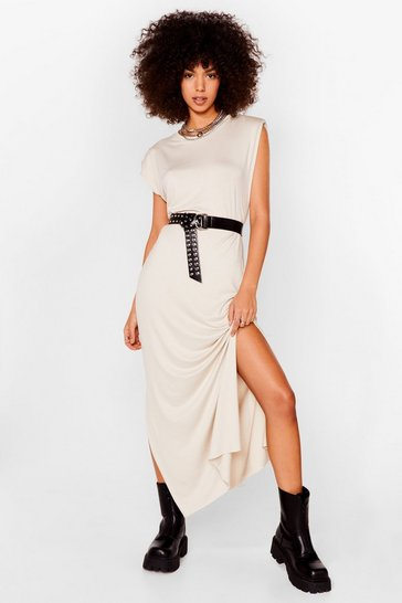 Stone Shoulder Pad Romance Slit Maxi Dress