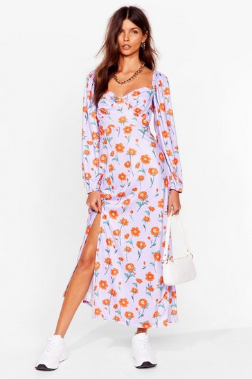 Lavender Floral Long Sleeve Slit Maxi Dress