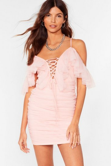 Pink Ruched Lace-Up Mesh Mini Dress