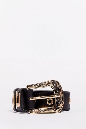 Black Hey West Friend Faux Leather Ornate Belt