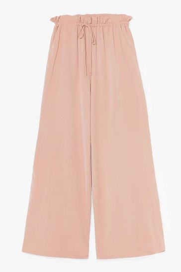 Stone It's in the Paperbag Tie Wide-Leg Trousers