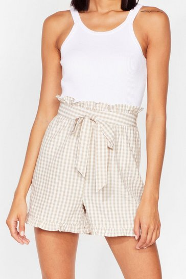 Stone Gingham a Call Belted Paperbag Shorts