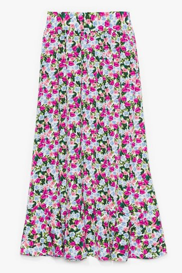 Purple Grow More Excuses Floral Maxi Skirt