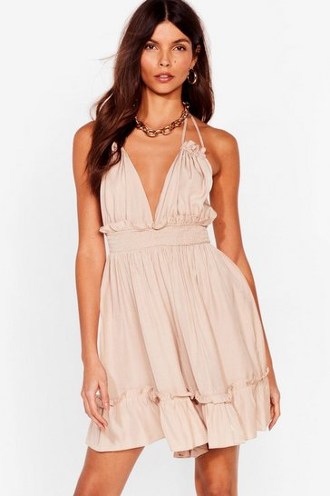 Stone Because I'm Strappy Plunging Ruffle Romper