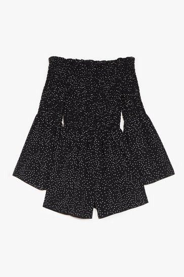 Black Polka Dot Off the Shoulder Shirred Romper