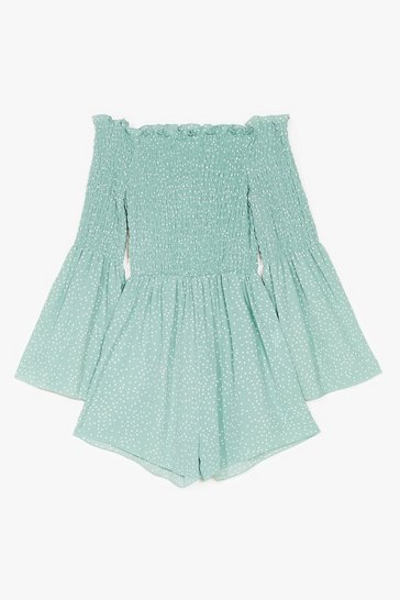 Sage Rest A-shirred Off-the-Shoulder Spotty Romper