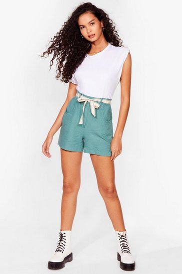 Sage Linen to My Heart Belted Shorts