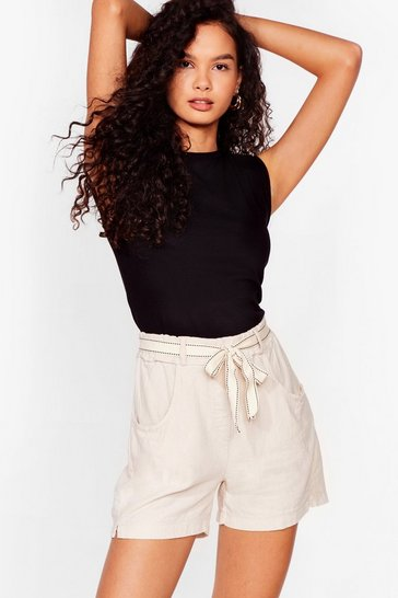 Stone Linen to My Heart Belted Shorts