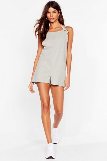 Sage Work For It Tie Dungaree Playsuit