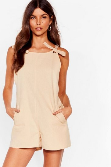 Stone Work For It Tie Dungaree Playsuit