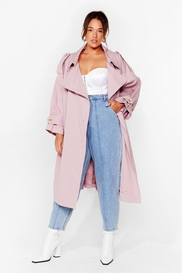 Pink Cover Your Basics Plus Belted Trench Coat