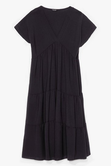 Black Plus Size Pleated Smock Dress