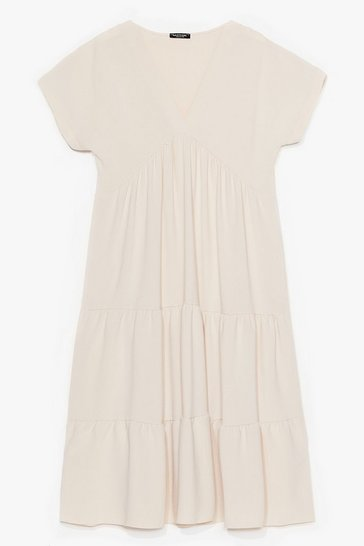 Stone Plus Size Pleated Smock Dress