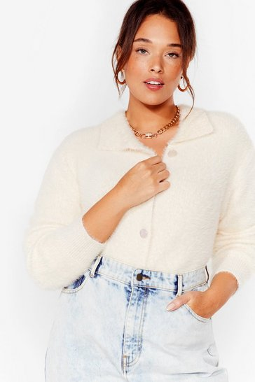 Cream The Soft Parade Fluffy Knit Plus Cardigan