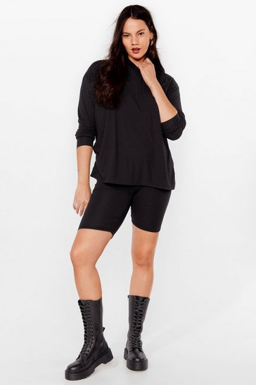 Black Plus Size Ribbed Hoodie And Shorts Set