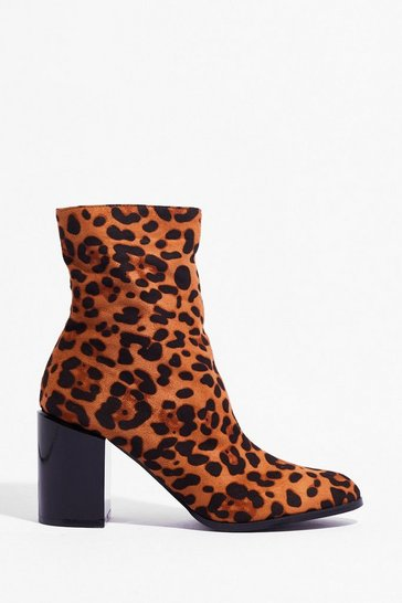 Brown Immi Suede Leopard 2 Tone Boots