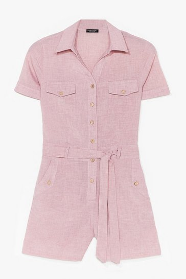 Dusky pink Work From Home Belted Playsuit