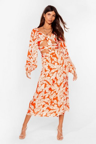 Not Growing Home Tie Floral Crop Top and Midi Skirt, Orange