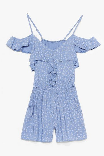 Blue There's Frill Time Floral Ruffle Playsuit