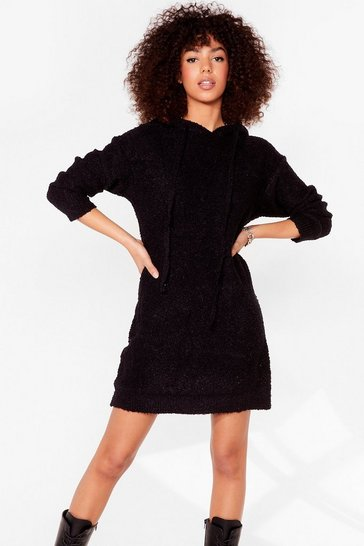 Black Don't Text-ure Your Ex Knitted Sweater Dress