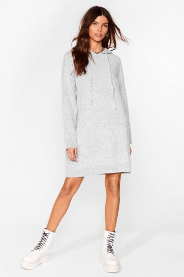 Grey Don't Text-ure Your Ex Knitted Sweater Dress