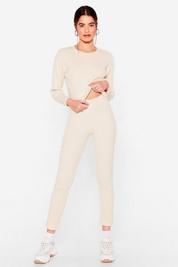 Ivory Get Your Knit Together Sweater and Leggings Set