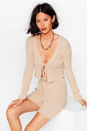 Sand Knit Tie Cardigan And Shorts Set