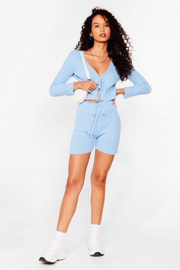 Sky Knit Tie Cardigan And Shorts Set