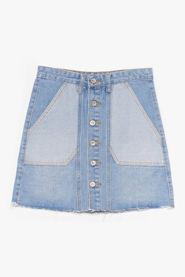 Blue Contrast Pocket Denim Mini Skirt