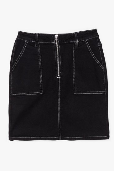 Black It Only Takes a Mini Contrast Denim Skirt