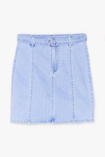 Blue Won't Wash With Us Belted Mini Skirt