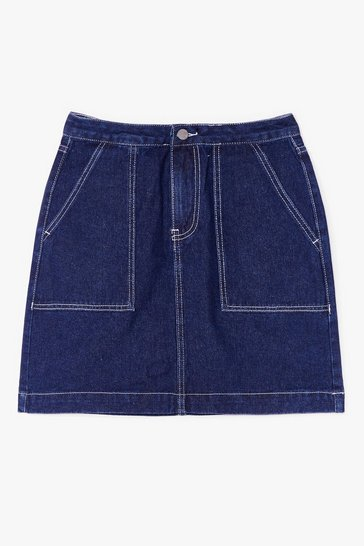 Blue Outta Line Contrast Denim Mini Skirt