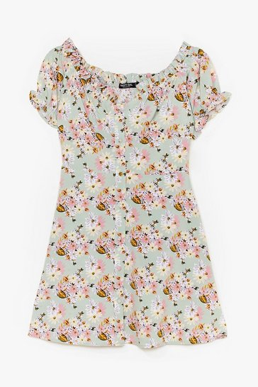 Sage Floral Cap Sleeve Button Mini Dress