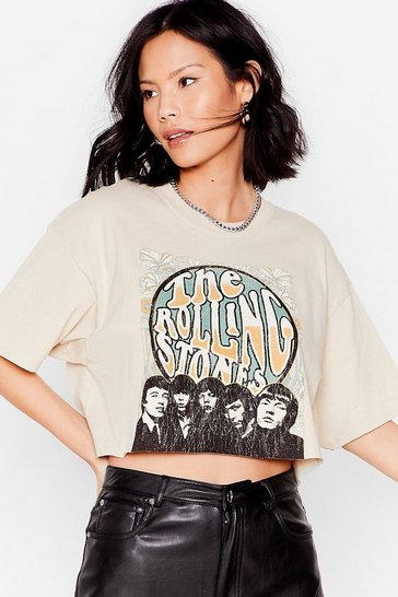Sand The Rolling Stones Cropped Graphic Band Tee