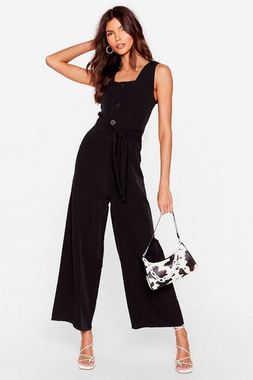 Black Square Neck Belted Wide Leg Jumpsuit