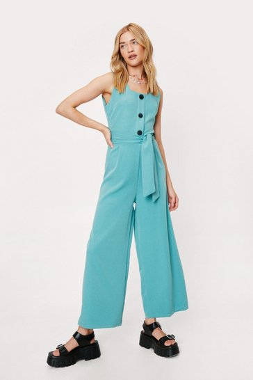 Khaki Jump to It Belted Wide-Leg Jumpsuit