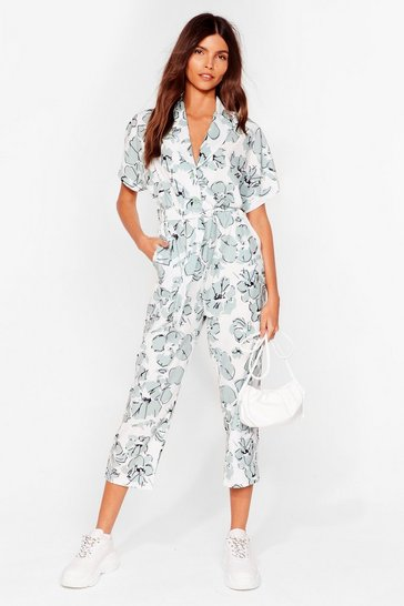 Sage Feel the Flower Floral Belted Jumpsuit
