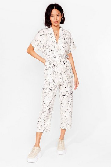 Stone Feel the Flower Floral Belted Jumpsuit