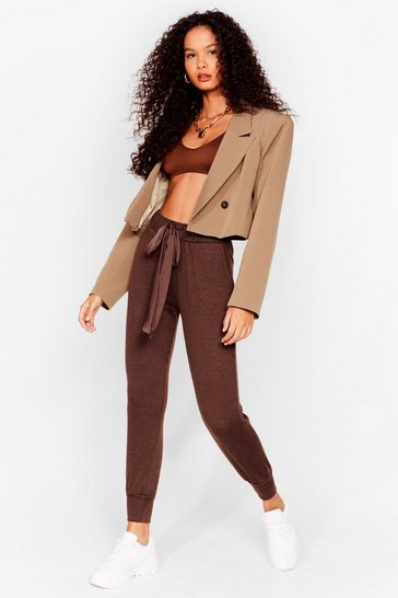 Pantalon de jogging ample à ruban À m'asseoir sur un ru-ban, Brown