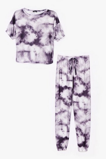 Charcoal Count On Tee Tie Dye Joggers Lounge Set