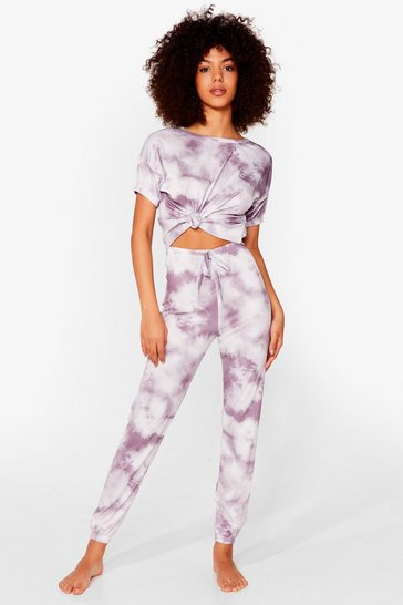 Pink Count On Tee Tie Dye Joggers Lounge Set