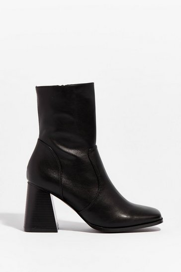 Black Faux Leather Block Heel Zip Up Boots
